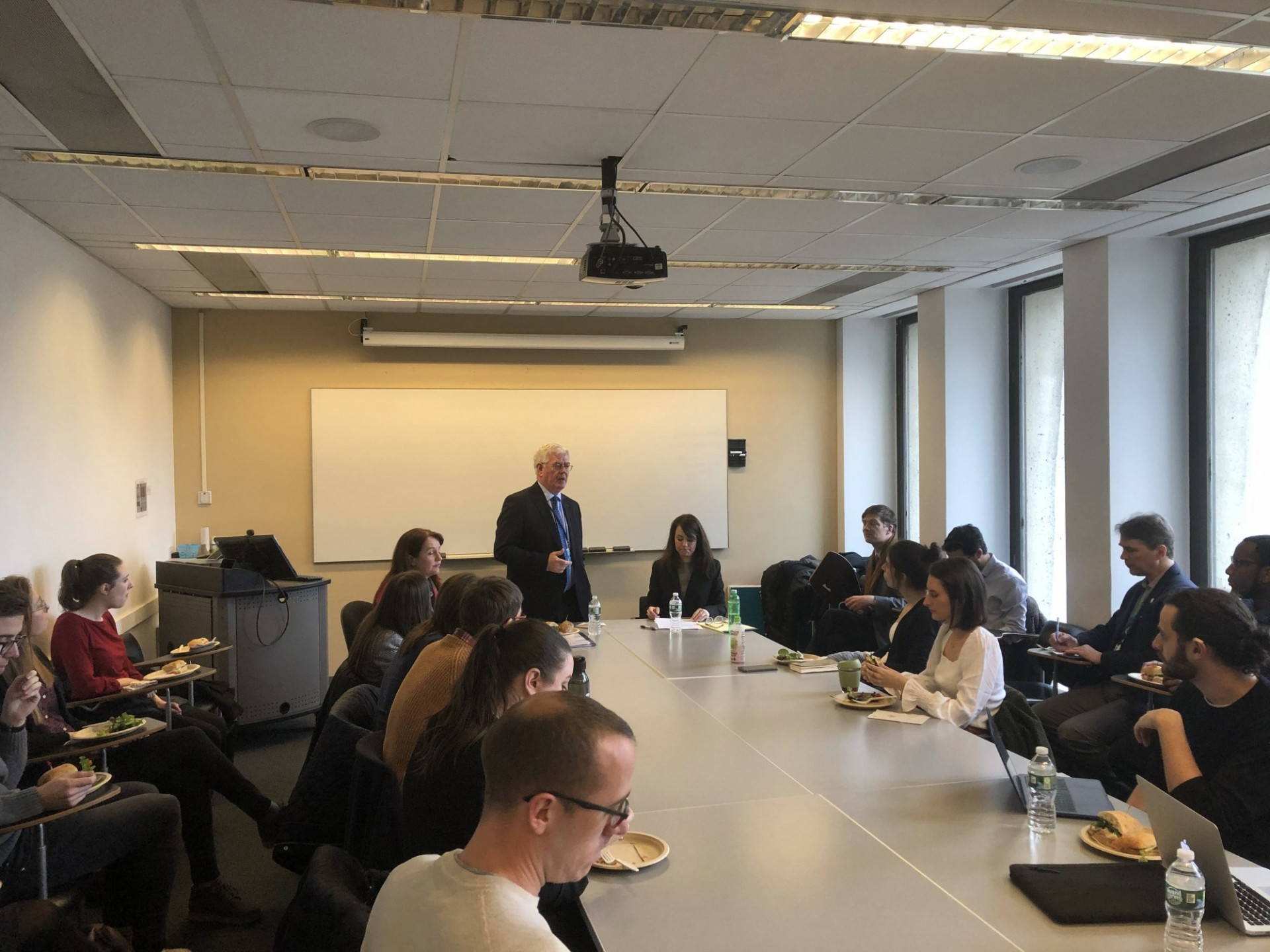 Eamon Gilmore in conversation with students at Columbia University