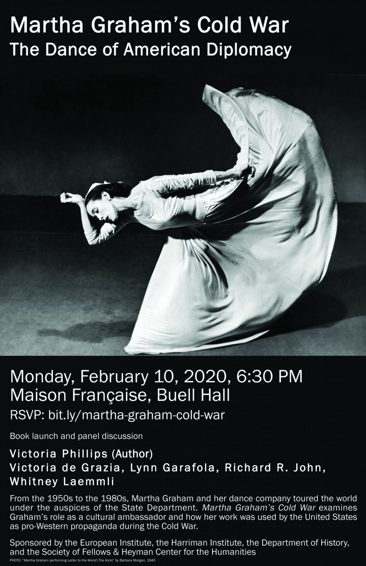 Flyer advertising book launch event for Martha Graham's Cold War: the Dance of American Diplomacy