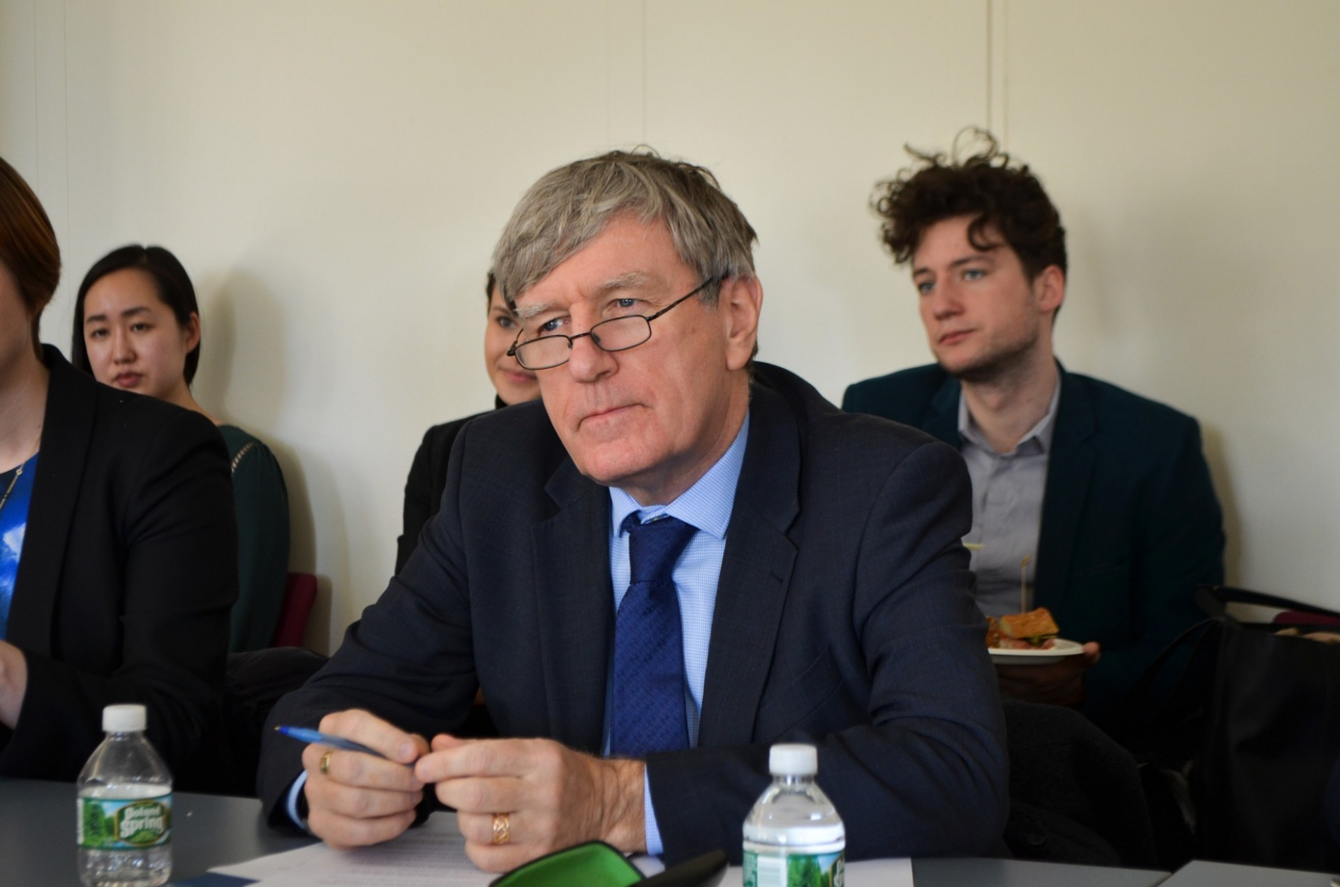 Ambassador Mulhall listens to Columbia students