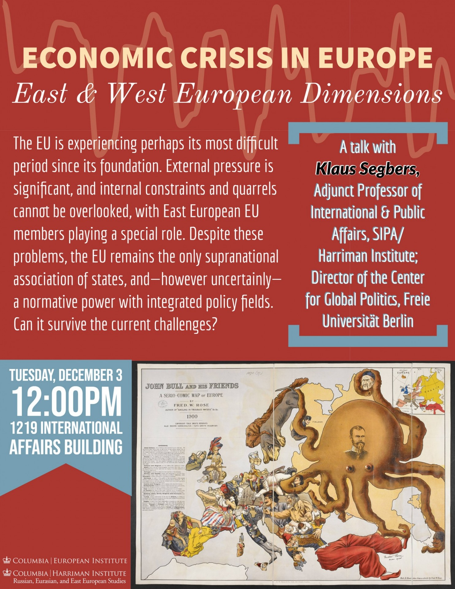 Flyer advertising event Economic Crisis in Europe, East and West European Dimensions