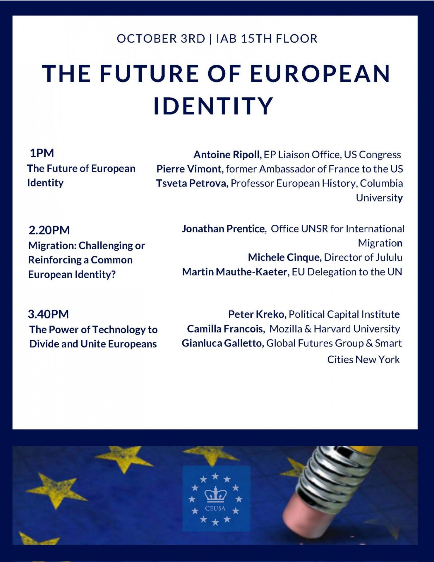 "Poster for event program ""The Future of European Identity"""