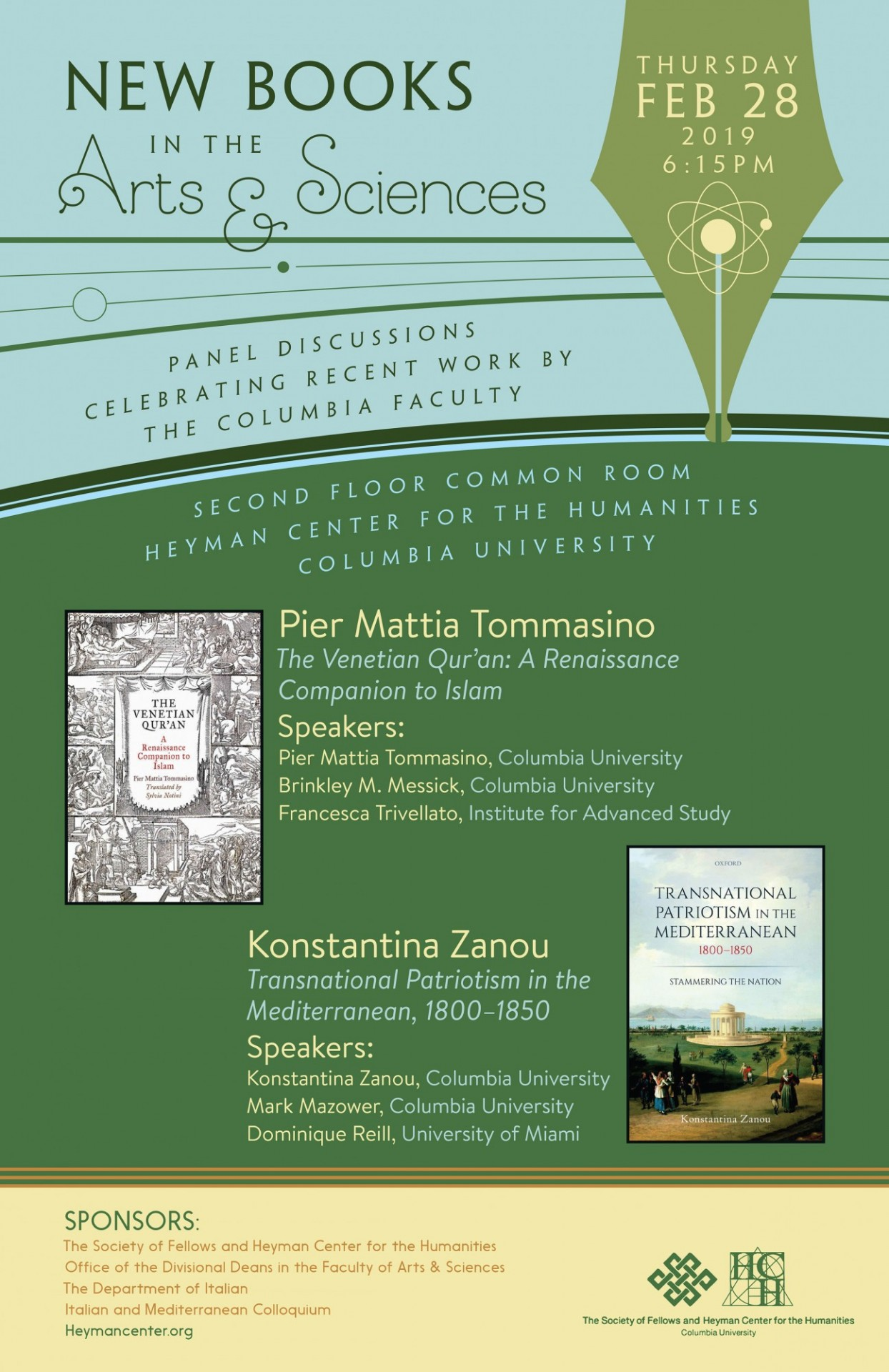 "Poster advertising event ""New Books in the Arts & Sciences: Celebrating Recent Work by Pier Mattia Tommasino and Konstantina Zanou"""