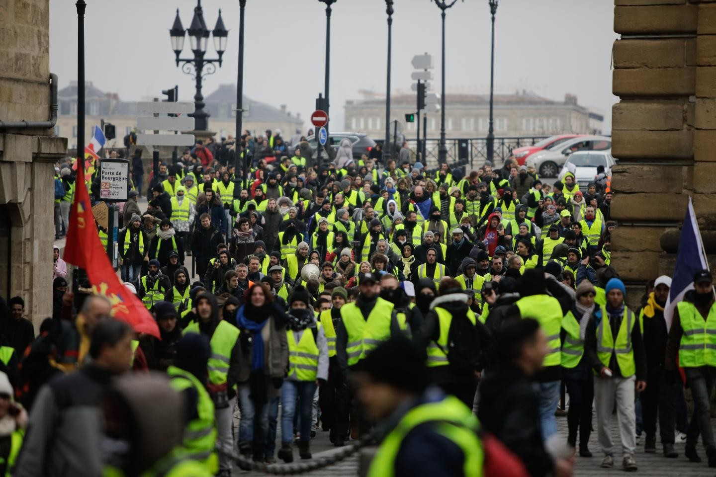 """Yellow vest protesters take part in an anti-government demonstration in Bordeaux, France, on December 29"" --THIBAUD MORITZ/AFP/GETTY IMAGES"