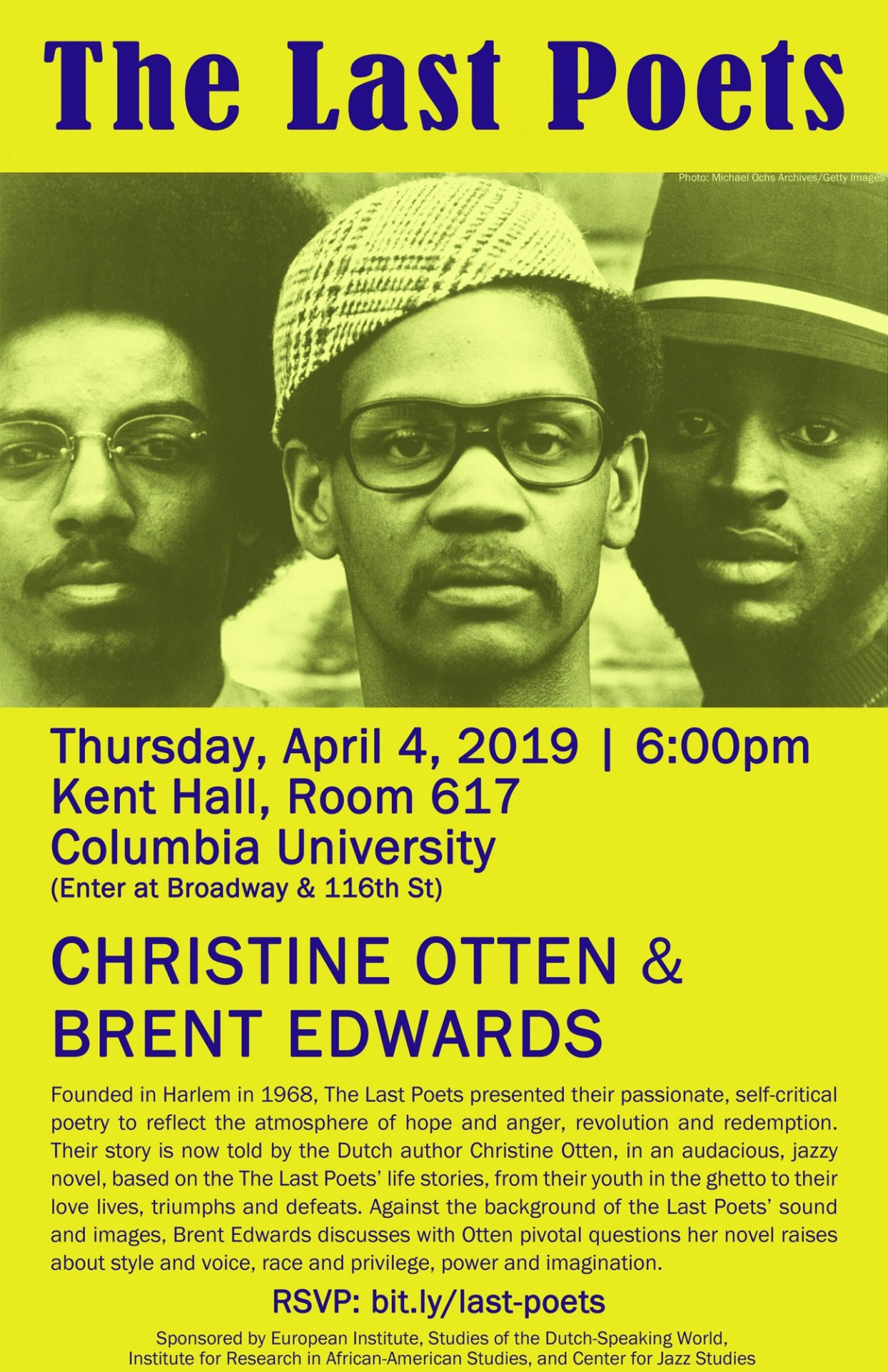 "Flyer advertising event ""Last Poets: Conversation with Christine Otten and Brent Edwards"""