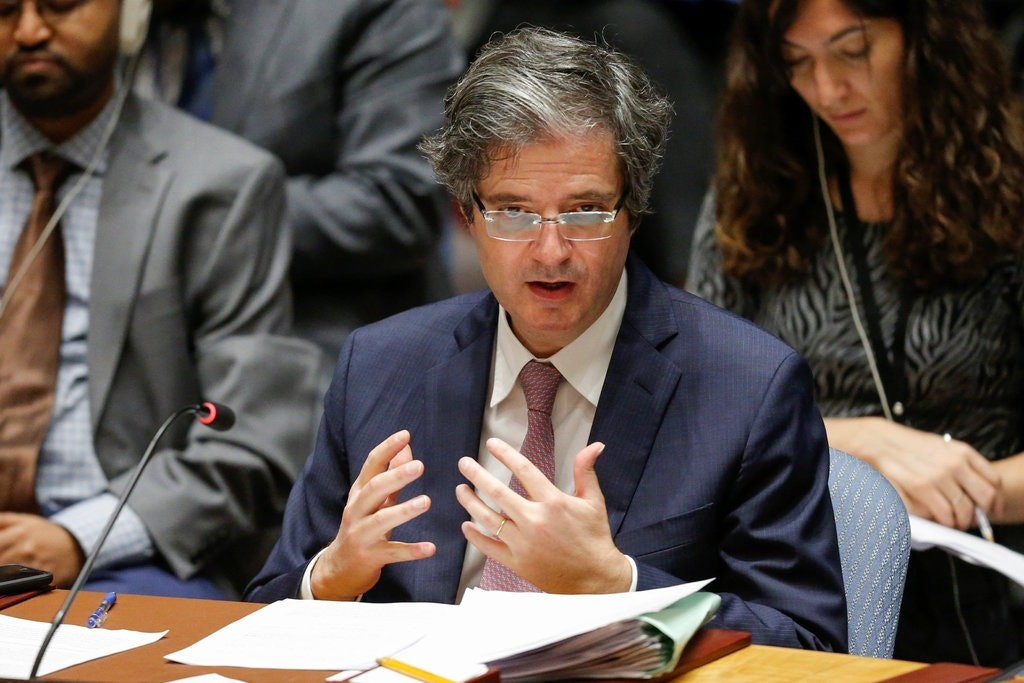 Delattre speaking at the UN on the Syria crisis