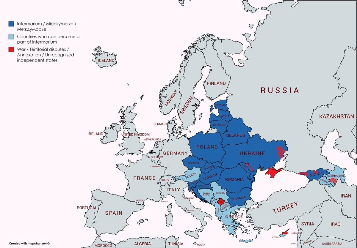 Map of a proposed Intermarium alliance