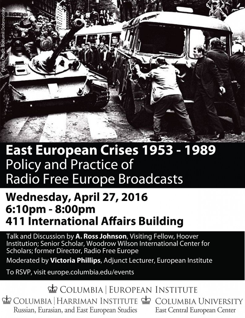 "Poster for event ""East European Crises 1953 – 1989"""
